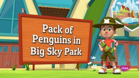 Pandilla de pingüinos en Big Sky Park