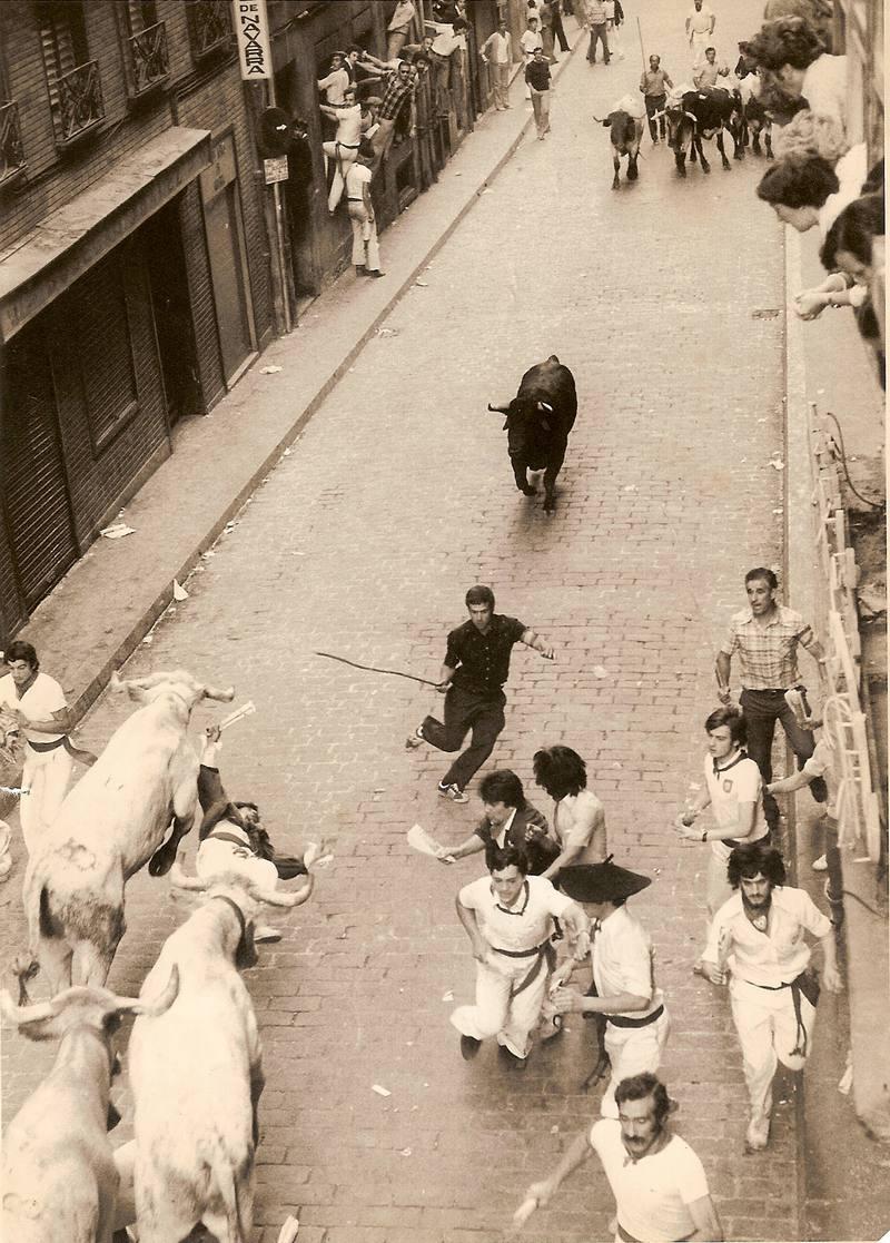 Rastrojo, en una imagen de archivo en los encierros de San Fermín entre un grupo de vaquillas con un toro ante otra manada de mansos