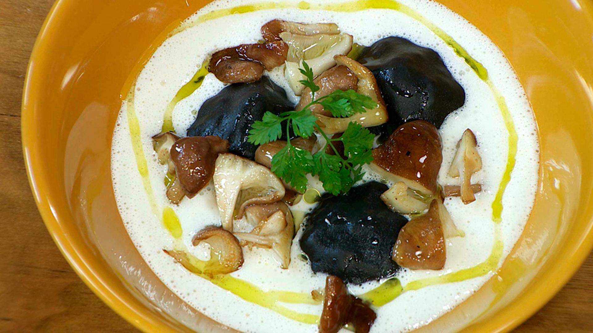 Torres en la cocina - Raviolis de langostinos con setas