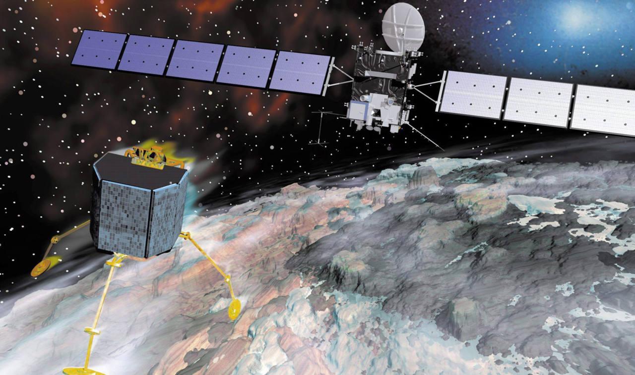 Recreación de la sonda Rosetta durante su aproximación al cometa 67P. AGENCIA ESPACIAL EUROPEA (ESA)