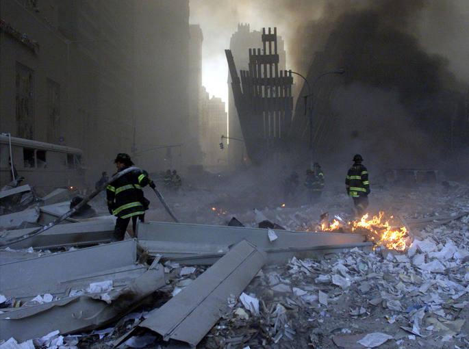 Restos de las Torres Gemelas de Nueva York tras los atentados del 11-S de 2001.