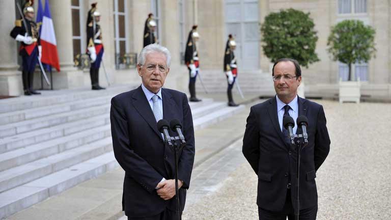 Reunión de Hollande y Monti en busca del refuerzo del euro