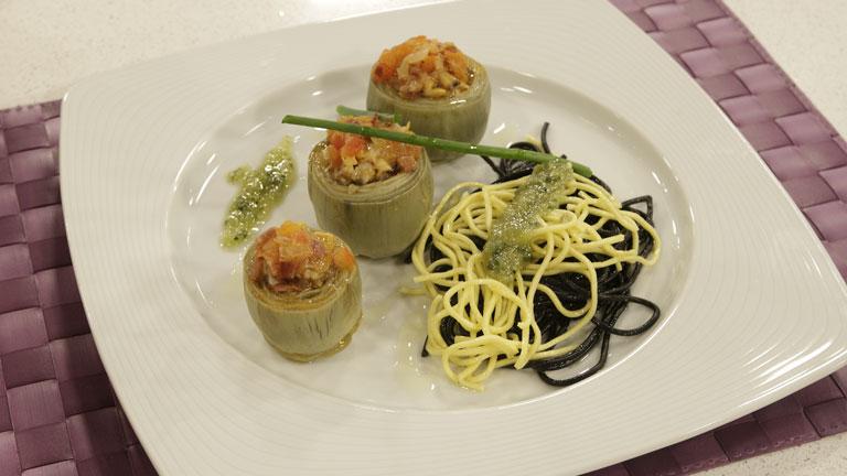 Receta de alcachofas con almejas a la marinera y pasta al for Cocinar alcachofas