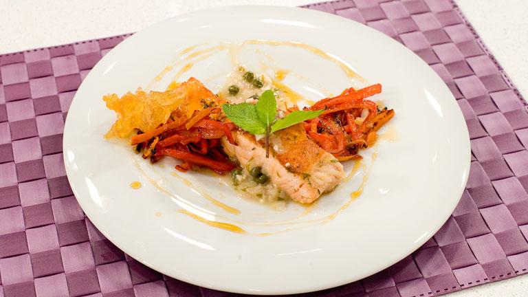 Receta de salm n a la plancha con menta y verduras for Como cocinar salmon plancha