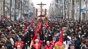 Salida del cristo de los Gitanos, en Granada