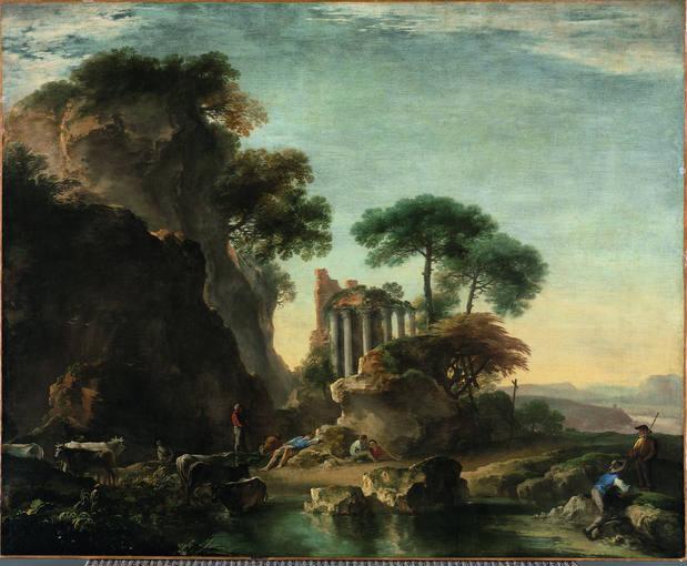 Salvatore Rosa (1615-1673). 'Paisaje de lago con ganado' (1640). Óleo sobre lienzo. Museo de Arte de Cleveland.