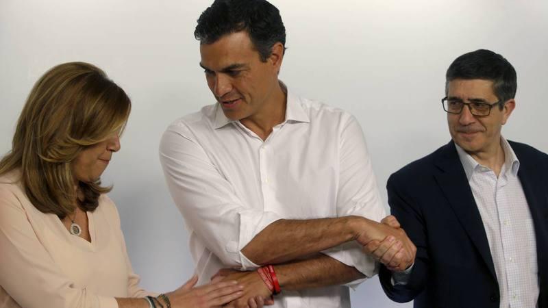 Sánchez, Díaz y López se fotografiaron juntos tras las primarias.