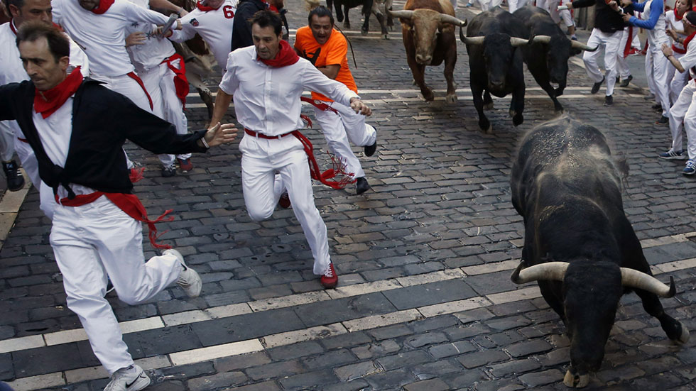 Séptimo encierro de San Fermín 2015 con toros de Garcigrande