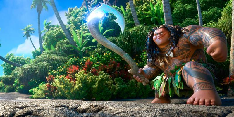 Con su anzuelo mágico Maui puede convertirse en cualquier animal