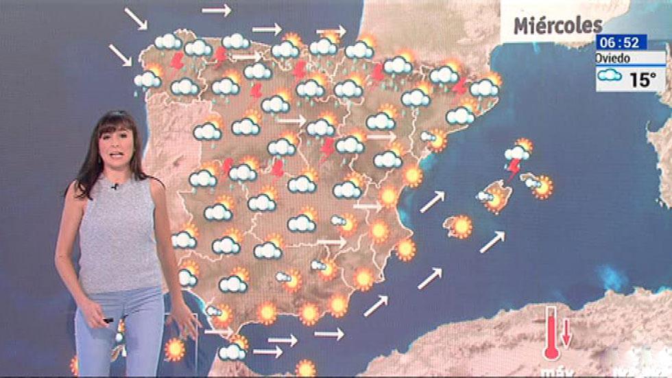 Temperaturas en descenso en el norte e interior peninsular y fuertes tormentas en el norte