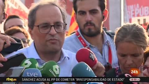 """Torra pide al Gobierno """"máxima inteligencia política"""" y a los españoles """"su solidaridad"""" con Cataluña"""