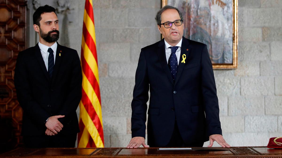 Torra toma posesión como president de la Generalitat sin presencia del Gobierno y sin aludir a la Constitución