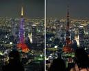 Combination picture shows the Tokyo Tower before and during Earth Hour in Tokyo