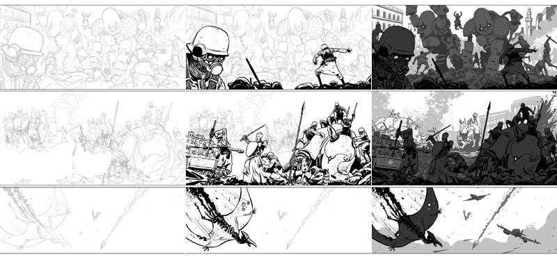 Tres momentos del proceso digital de dibujo de Baldó, desde el lápiz hasta el acabado por capas de negros y grises