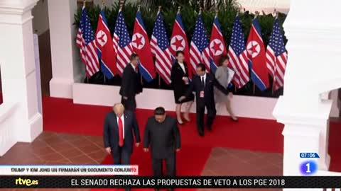 Trump y Kim Jong-un, satisfechos tras una cumbre histórica