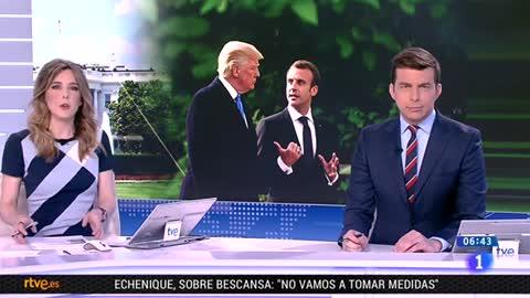 """Trump vapulea el """"horrible"""" acuerdo nuclear iraní ante Macron, que se ofrece a renegociarlo"""