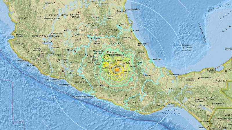 Ubicación del epicentro del terremoto, en el estado de Morelos, en el centro de México