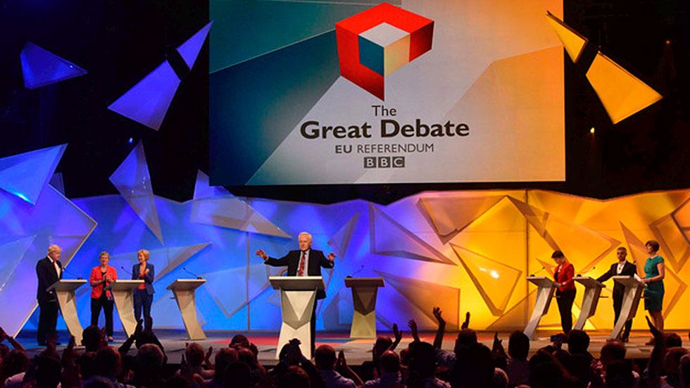 Último debate televisado antes del referéndum del Brexit en  el emblemático Wembley Arena
