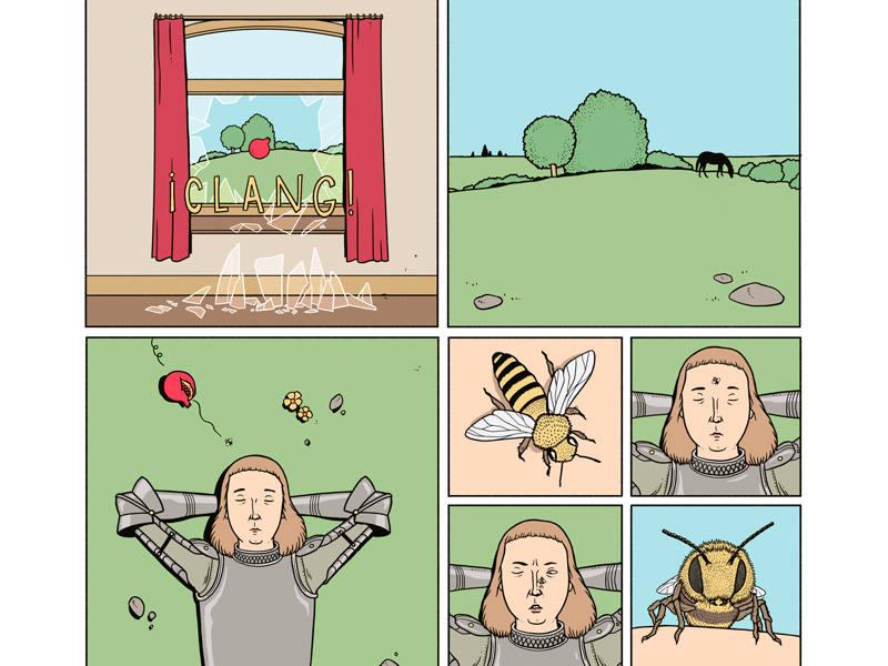 Viñetas inspiradas por 'Sueño causado por el vuelo de una abeja alrededor de una granada un segundo antes del despertar', de Dalí