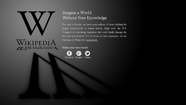 """Wikipedia lidera el """"apagón"""" virtual contra polémica ley antipiratería"""