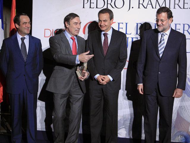Zapatero y Rajoy, en la presentación de un libro de Pedro J. Ramírez