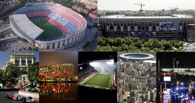 De izquierda a derecha, y de arriba hacia abajo: Nou Camp, Estadio Santiago Bernabéu, Circuito de Mónaco, El Nido, San Siro, Maracaná y Melbourne Cricket Ground.
