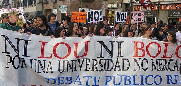Una vista de la cabecera de la manifestación contra Bolonia en Madrid