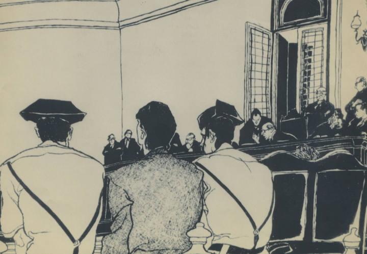 Dibujo de la sala del juicio. De espaladas, Rafael Escobedo escoltado por dos guardias civiles ardias-civiles-efe