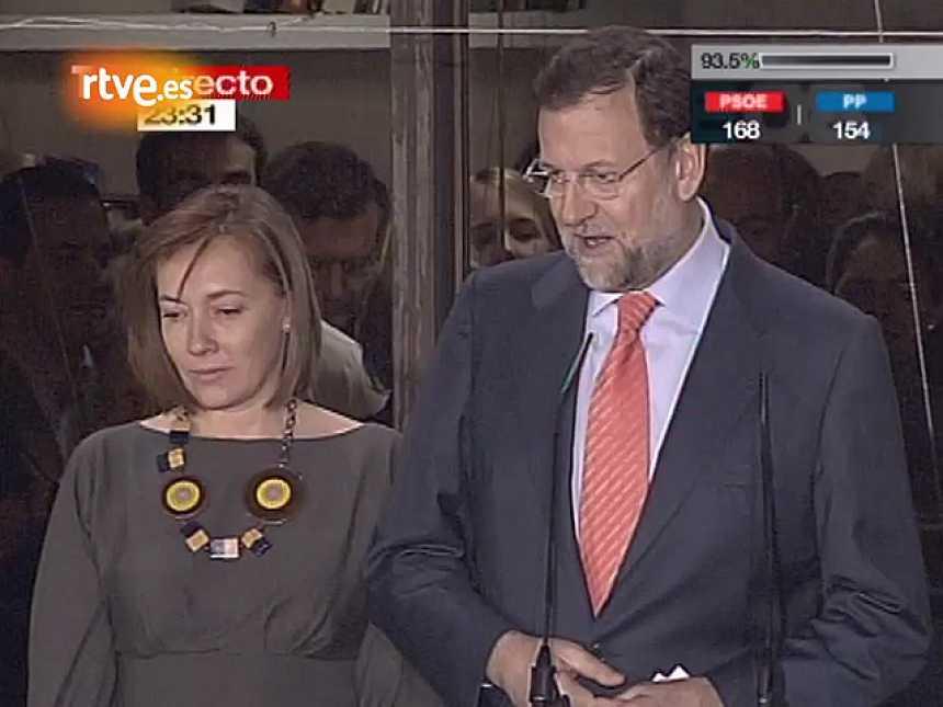 Discurso de Rajoy desde el balcón de Génova tras la derrota de 2008