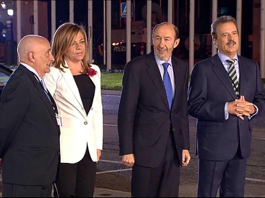 Rubalcaba llega al Palacio de Congresos para debatir con Rajoy