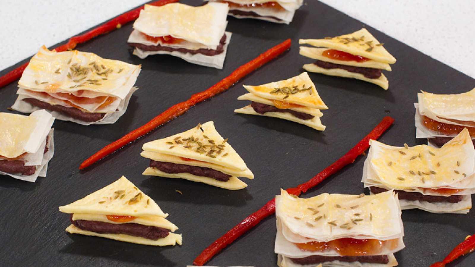 receta de mini lasa as de pasta brick y crema de morcilla