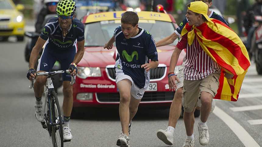 Así fue el sufrimiento de Valverde en la ascensión al Peyragudes