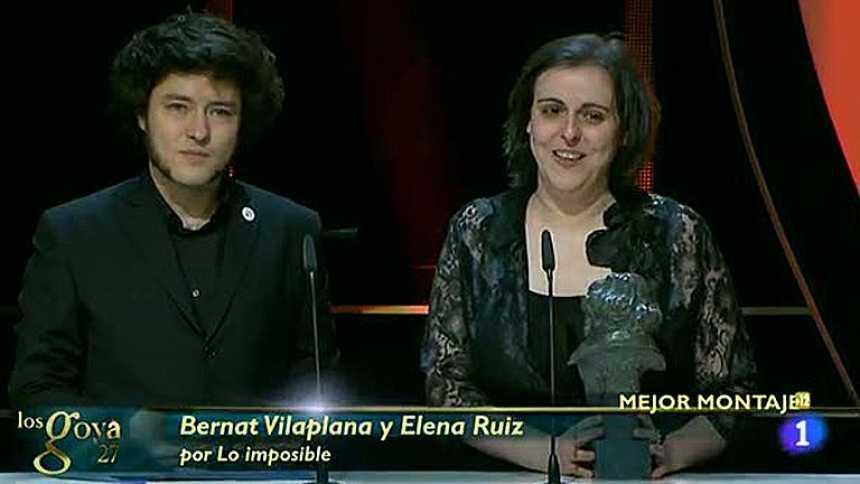 Bernat Villaplana y Elena Ruiz, premio al Mejor Montaje por 'Lo imposible'