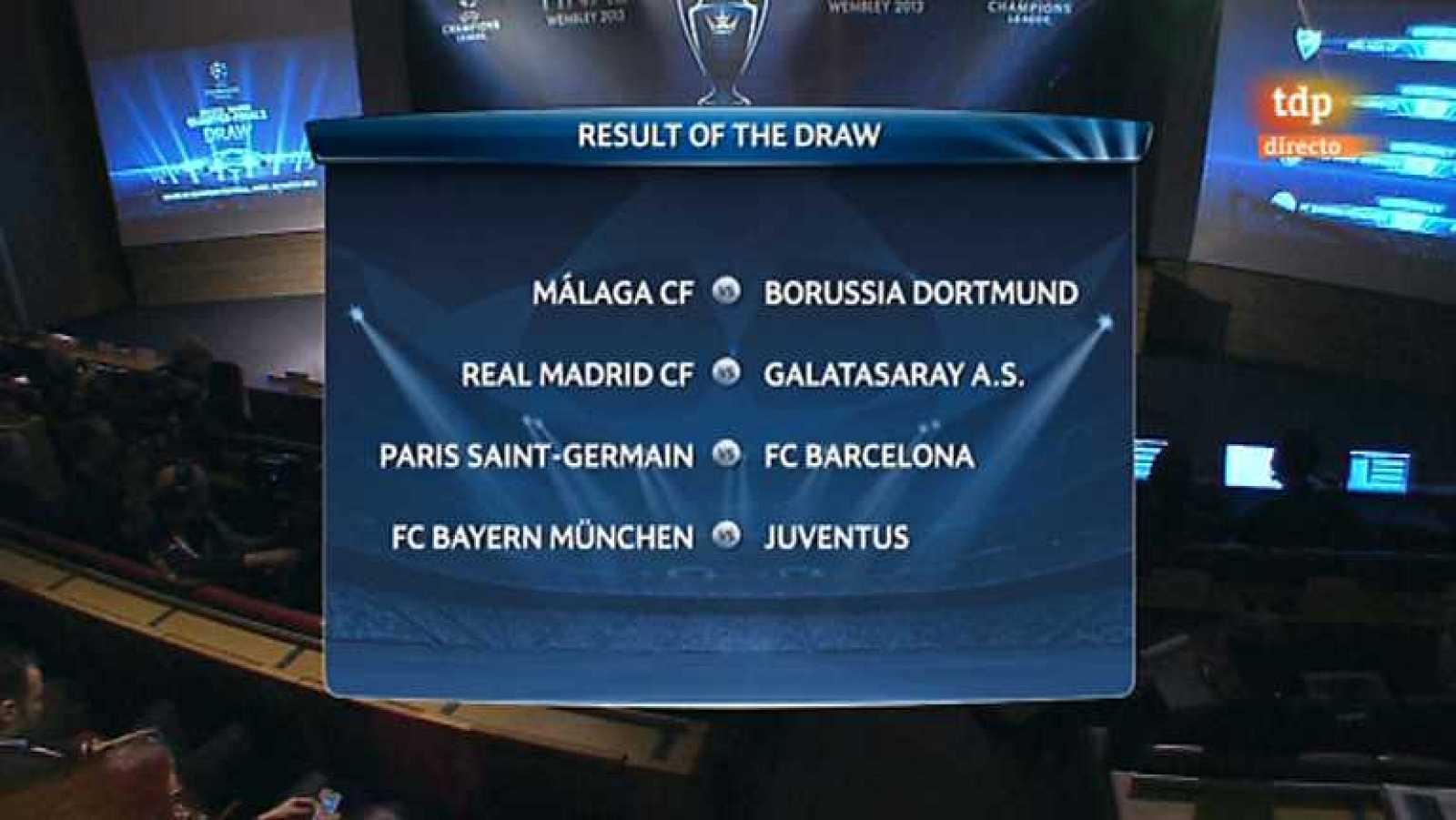 Fútbol - Sorteo UEFA Champions League. Cuartos de final.