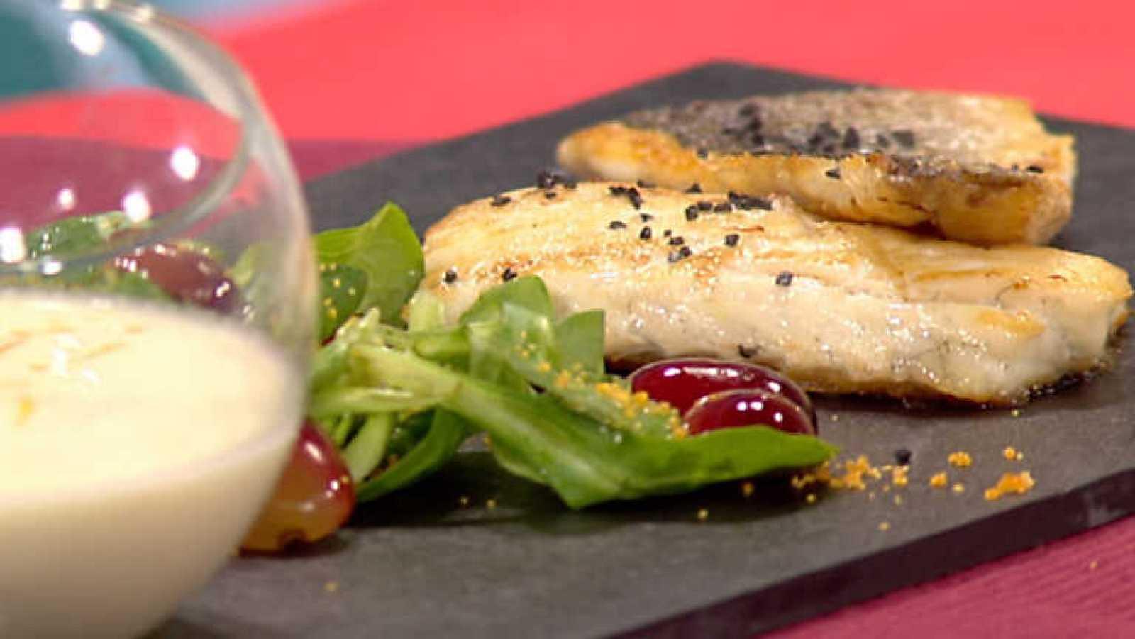 Cocina con sergio lubina a la plancha con ajoblanco de for La cocina de sergio