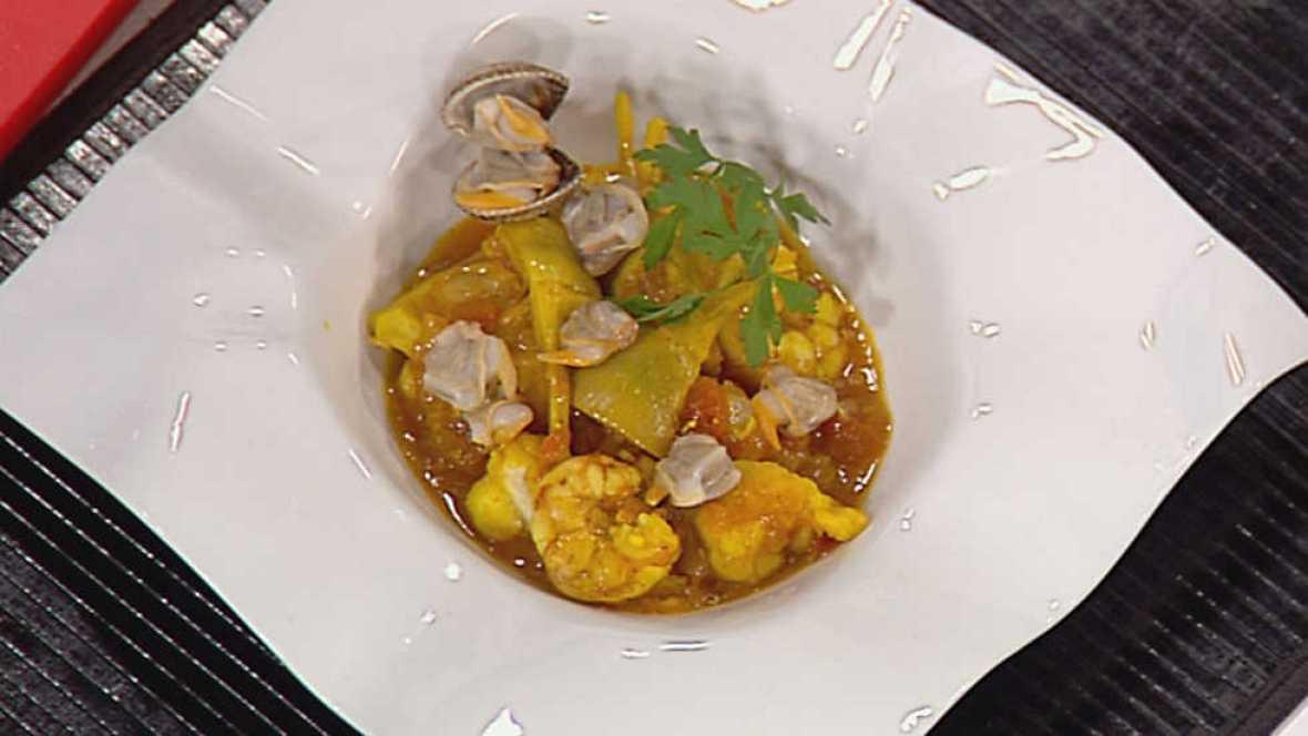 Cocina con sergio zarzuela de marisco con alcachofas - Cocina con sergio pepa ...