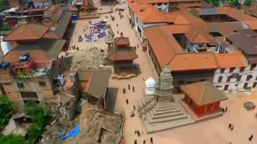 La destrucción del terremoto de Nepal, vista desde el aire