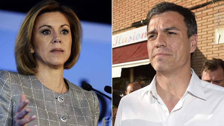 """Cospedal defiende que es el PP el que """"sabe resolver problemas"""" y Sánchez señala que """"el futuro no está escrito"""""""