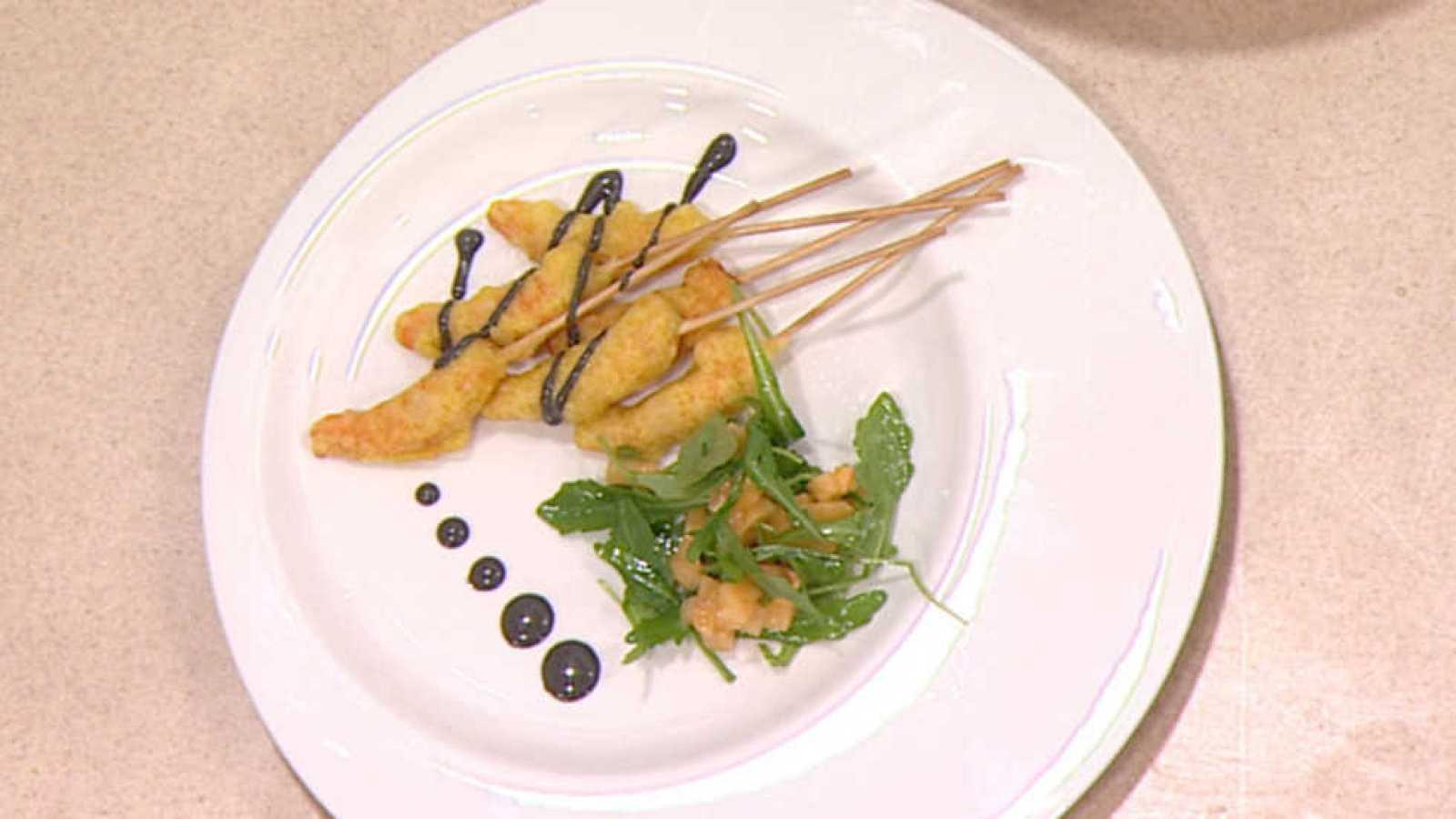 Cocina con Sergio - Tempura de langostinos con mahonesa de ajo negro ...