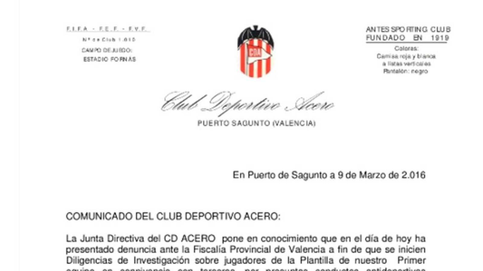 El Club Acero de Sagunto denuncia a parte de su plantilla - RTVE.es