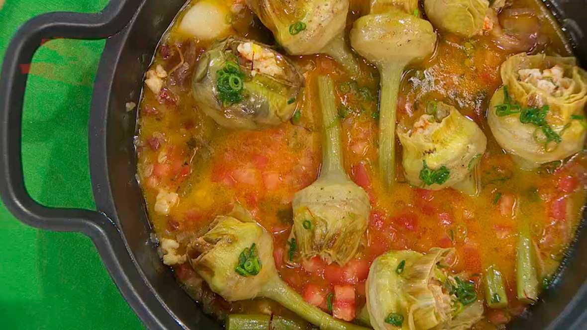 Recetas De Cocina Alcachofas | Receta De Alcachofas Rellenas De Langostinos Y Jamon