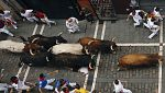 Los toros adelantan a los cabestros en el séptimo encierro de los Sanfermines 2017
