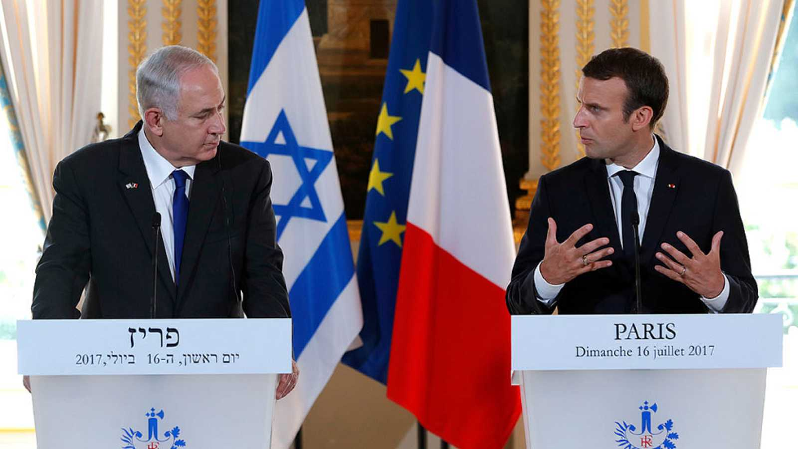 Macron reafirma ante Netanyahu su posición a favor de dos Estados y ...