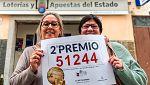 El segundo premio de la Lotería de Navidad, el 51.244, se ha repartido por toda España