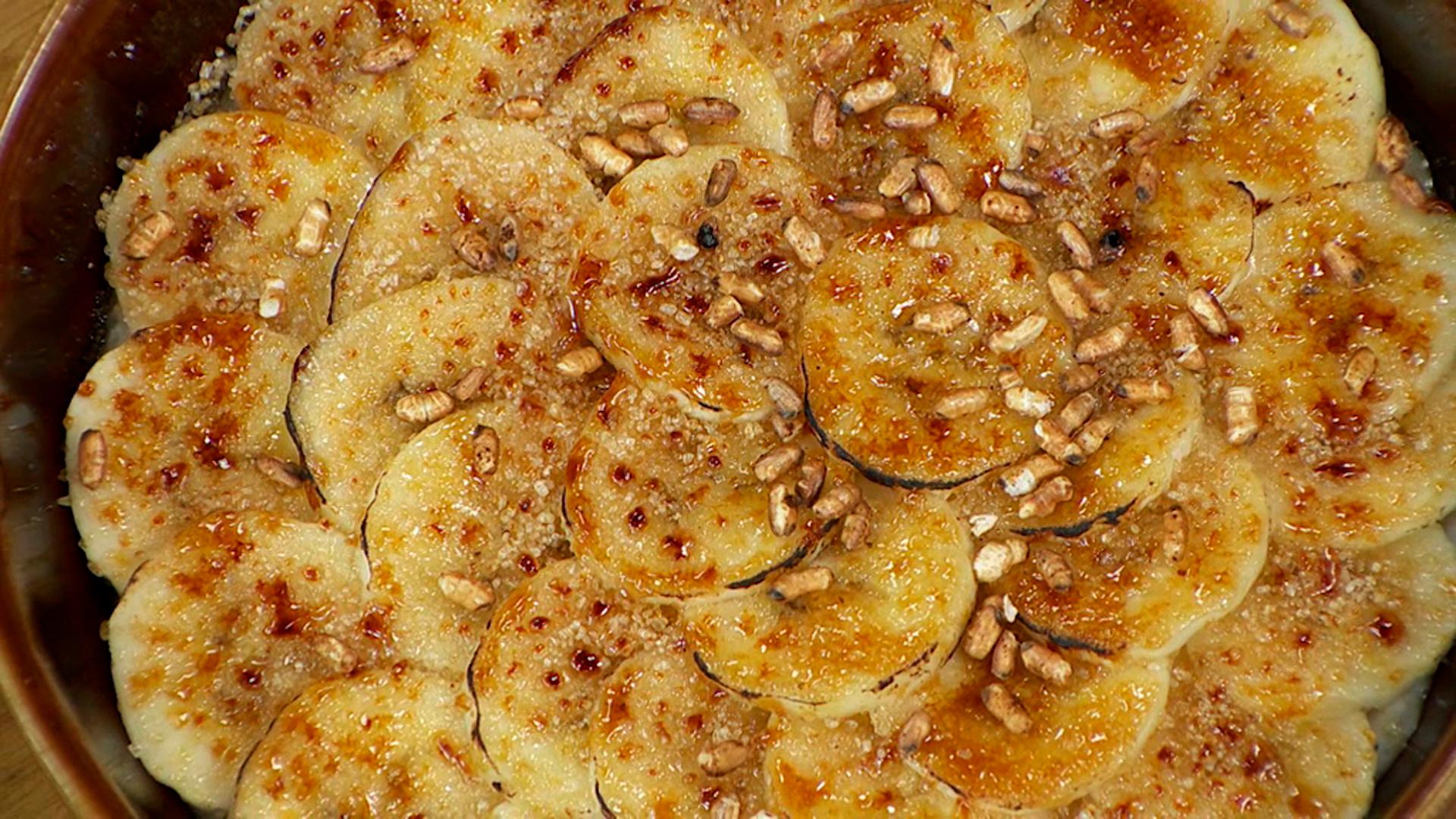 Arroz al coco con plátano caramelizado
