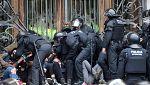 Detenidos doce activistas por bloquear el acceso al TSJC en Barcelona