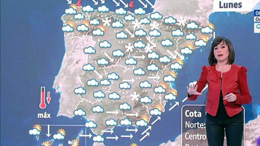 Este lunes habrá nevadas en cotas bajas con precipitaciones y viento en casi toda la Península