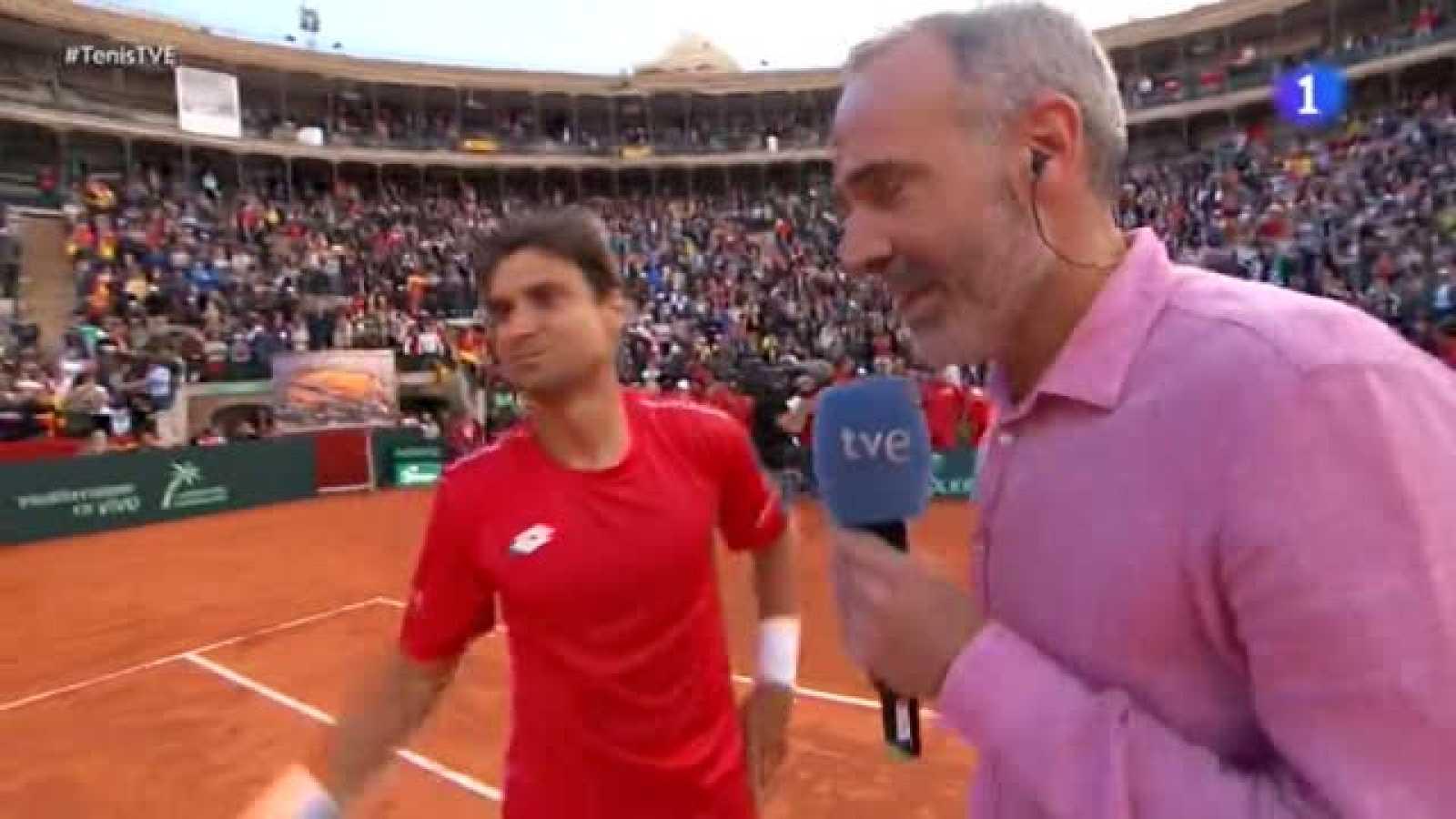 David Ferrer dio a España el quinto y definitivo punto de la eliminatoria de los cuartos de final de la Copa Davis, tras imponerse en un vibrante y reñido partido al alemán Philipp Kohlschreiber por 7-6(1), 3-6, 7-6(4), 4-6 y 7-5, tras 4 horas y 51 m