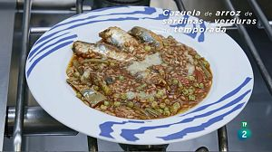 Cazuela de arroz de sardinas y verduras de temporada