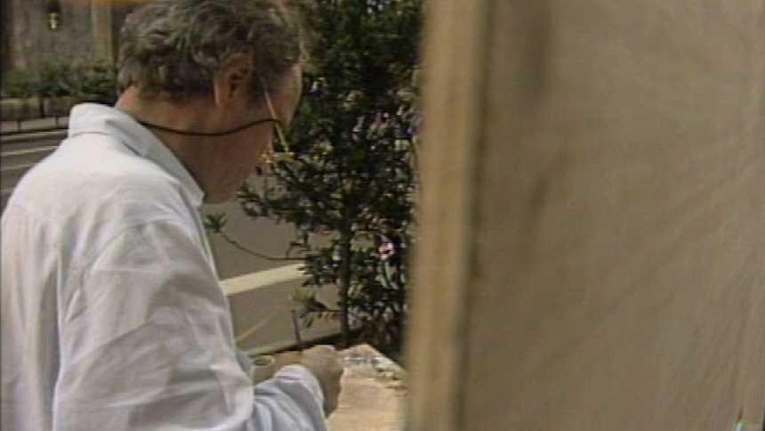Antonio López pintando el primer tramo de la Gran Vía madrileña